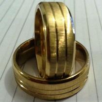 Par Aliança Aço Inox 8mm Dourada Folheada Ouro Casamento