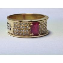 Anel De Formatura Luxo Diamantes E Pedra Natural. Direito...