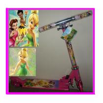 Patinet Infantil Tinker Bell Rosa 2 Rodas Dobravel Scooters