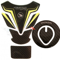 Kit 2 Protetores Tanque E Bocal Honda Cb300r Preto E Amarelo