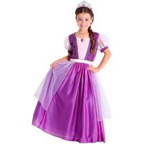 Fantasia Rapunzel Enrolados Princesa De Luxo Longa Infantil