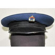 Antigo Quepe Militar Brasileiro Azul Com Pin Denconhecido