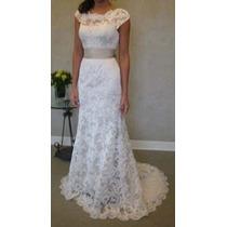 Vestido Noiva Simples Festa Casamento Calda Manguinha