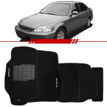 Tapete Civic 00 99 98 97 Carpete Preto Bordado