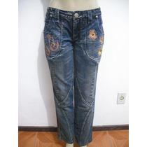 Calça Jeans Tam 40 Detalhes Bordados Bom Estado