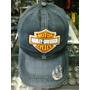 Bone Harley Davidson Logo Estilo Envelhecido Surrado Preto