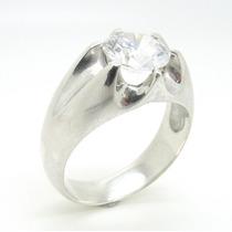 Anel Prata 925 Com Pedra Cristal E Coroa De 6 Garra - Ma2246