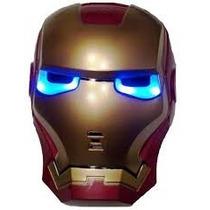 Máscara Homem De Ferro Luxo Com Luz Nos Olhos