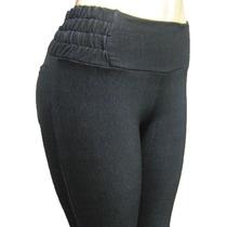 Calça Legging Em Malha Jeans Com Cintura De Elastano