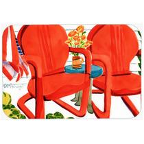 Cadeiras Vermelhas Vista Pátio Mouse Pad, Hot Pad Ou Trivet