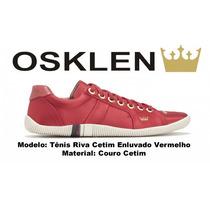 Sapatenis Osklen Feminino Riva Cetim Vermelho 100% Original