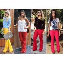 Calça Jeans Flare Colorida Luxo Levanta Bumbum Frete Grátis