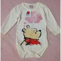 Body Manga Longa Ursinho Pooh Baby Menina 6-9 Meses Bebê