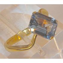 Rsp J4525 Anel Prata A Ouro Água Marinha Sedex Grátis