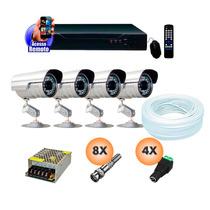 Kit Dvr Ahd 4 Canais C/ 4 Cameras Seguranca Infra C/ Fonte