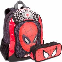 Mochila Costas Homem Aranha Bracelete Spider Man + Estojo