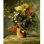 Lindo Arranjo De Flores No Vaso Pintor Renoir Tela Repro