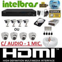 Kit 4 Cameras Infra Dvr 4 Canais Intelbras 1004 G2 Tribrido