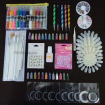Kit Decoração Unhas Nail #1 Strass, Esmalte, Glitter, Fimos