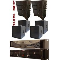 8 Line Array 2x8+ti + 4sub 18 + 2 Amplificadores 7200+900rms