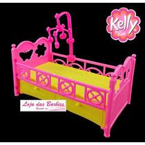 Bercinho / Cama Com Boneca Bebê Estilo Kelly ( Barbie )