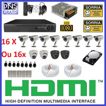 Kit Cftv 16 Cameras Infra Completo Dvr 16 Canais Com Hd 2tb