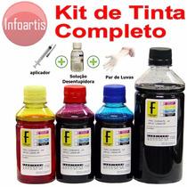 650ml Kit Tinta Recarga Cartucho Impressora Hp Epson + Clean