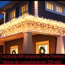Cascata 400 Lâmpadas 7 Metros 220v Fixa Decorar Arvore Natal