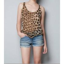 Blusa Blusinha Leopardo Onça Oncinha Renda Regata