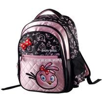 Mochila Infantil Costas Alças Angry Birds Preta Rosa Santino