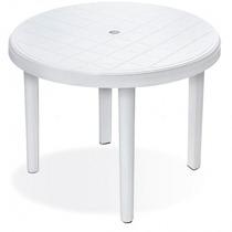 Mesa Plástica Redonda Desmontável - 95 Cm - Branca