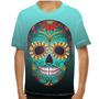 Camiseta Caveira Mexicana Blue Flowers Infantil