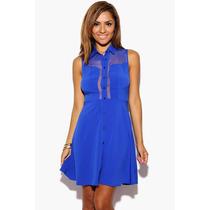 Vestido Piriguete Azul Forever 21 C/ Detalhe Transparente