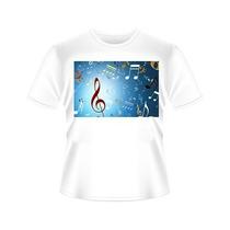 Camiseta Notas Musicais Tradicional Ou Babylook