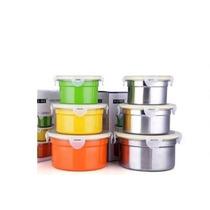 Conjunto De Potes E Tigelas Inox Com Tampas 3 Peças