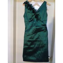 Vestido De Festa De Seda Verde C/ Detalhes Com Folhas Lindo