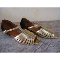 Calçado Feminino Sapatilha Dourada Couro N. 34 Maravilhosa