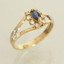 Anel Formatura Ouro 18k Safira Diamantes Pedagogia Feminino