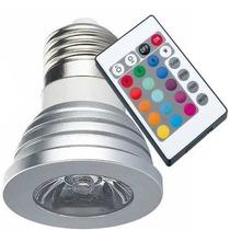 Lampada Led Rgb Spot Dicróica Colorida 3w Bivolt C/ Controle