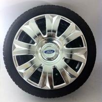 Calota Jogo 4pçs New Fiesta Focus Cromada Aro15 Ford P458mtj