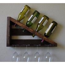 Mini Adega Rack Porta Garrafas De Vinho + Taças Madeira