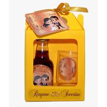 50 Kits Mini Vinho Com Tacinhas + Caixinha + Laço + Arte