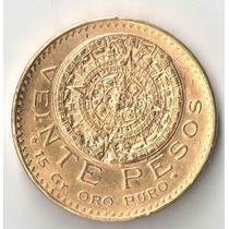 Mexico 20 Pesos De Ouro 16,5 Gramas De Ouro 900 Calendario M