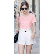 Conjunto Short E Blusa/short Curto Branco/blusa Rosa