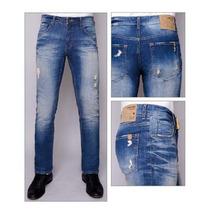 Calça Jeans Masculina Used / Rasgada Skiny 100% Algodão