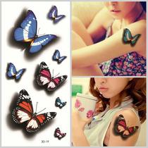 Tatuagem Temporaria 3d Grande Muito Real Tatoo 3d Borboletas