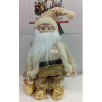 Papai Noel Dourado Musical Boneco À Corda 40 Cm Natal B324