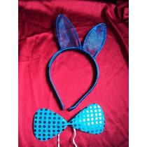 Fantasia Infantil Coelho Azul Coelhinho Orelhas E Gravata