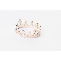 Anel Coroa De Princesa Com Pedras Em Prata