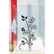 Adesivo De Parede Banheiro Porta Box Vidro Floral Borboleta